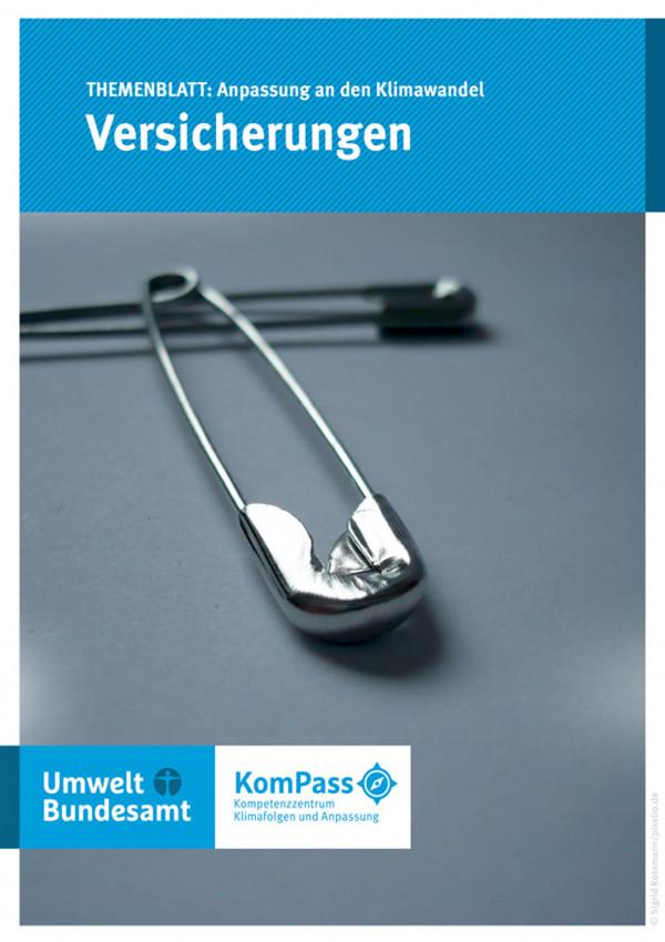 """Cover von """"Anpassung an den Klimawandel: Versicherungen"""" mit einem Foto von zwei Sicherheitsnadeln"""