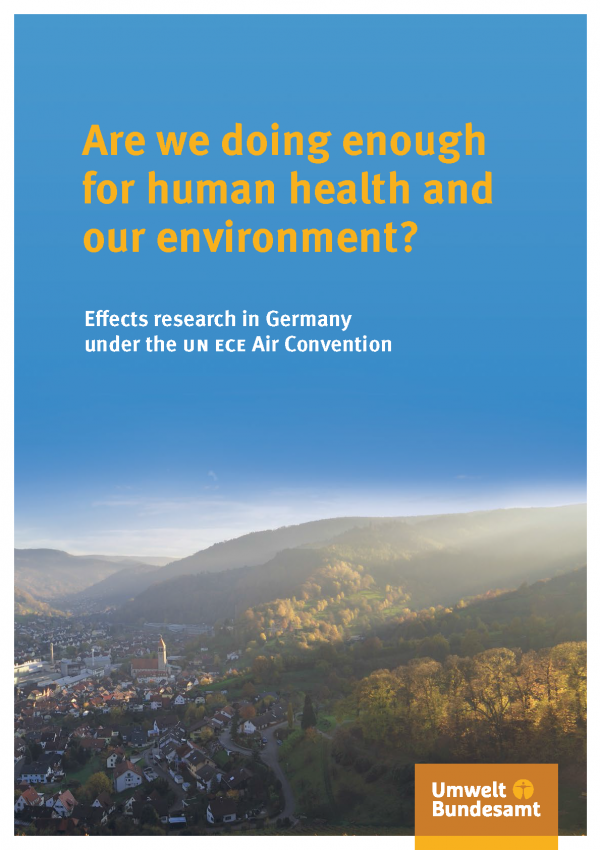 "Cover of the brochure ""Are we doing enough for human health and our environment?"" with a photo of a city in a valley with misky weather"