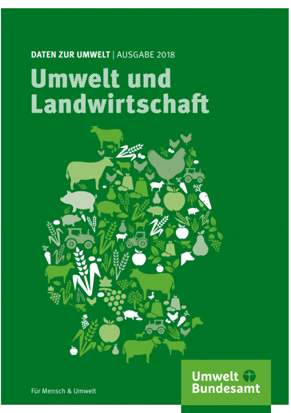 """Cover der Broschüre """"Daten zur Umwelt, Ausgabe 2018, Umwelt und Landwirtschaft"""" des Umweltbundesamtes mit Piktogrammen von Nutztieren und anderen landwirtschaftlichen Symbolen, die zusammen den Umriss von Deutschland bilden"""