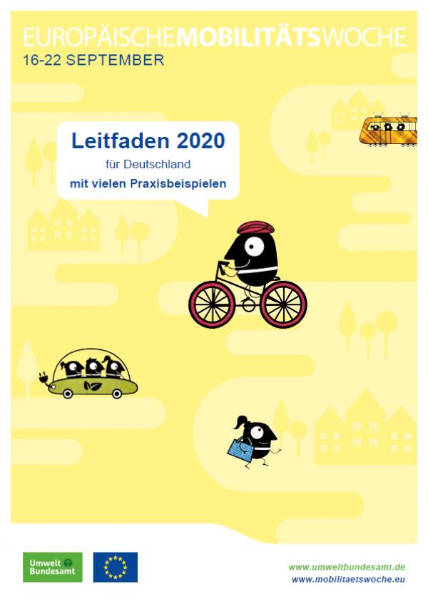 Titelseite des Leitfadens mit Piktogrammen: Menschen in einer Tram und in einem Elektroauto, Fahrradfahrer und Fußgängerin. Unten die Logos des Umweltbundesamtes und der EU