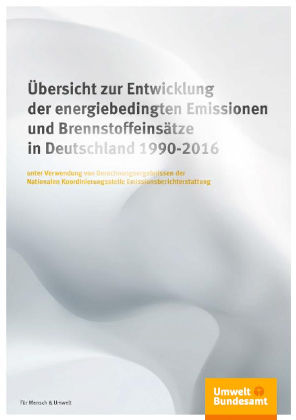 """Cover der Publikation """"Übersicht zur Entwicklung der energiebedingten Emissionen und Brennstoffeinsätze in Deutschland 1990 – 2014"""", der Hintergrund zeigt eine künstlerische Verfremdung wabernder Gase, unten das Logo des Umweltbundesamtes"""