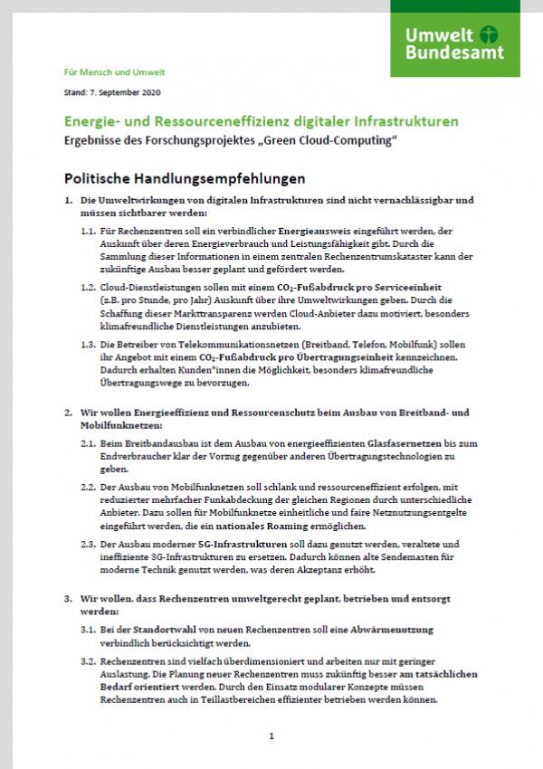 """Seite 1 des Papiers """"Energie- und Ressourceneffizienz digitaler Infrastrukturen"""" mit Text, oben das Logo des Umweltbundesamtes"""