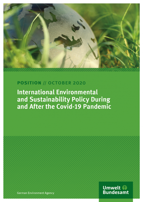 "Cover of the Position Paper ""International Environmental and Sustainability Policy During and After the Covid-19 Pandemic"" from the German Environment Agency, as at October 2020"