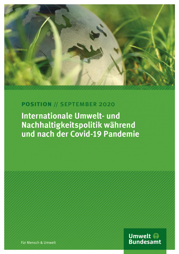 Titelseite des Positionspapieres mit dem Foto einer Weltkugel und dem Logo des Umweltbundesamtes