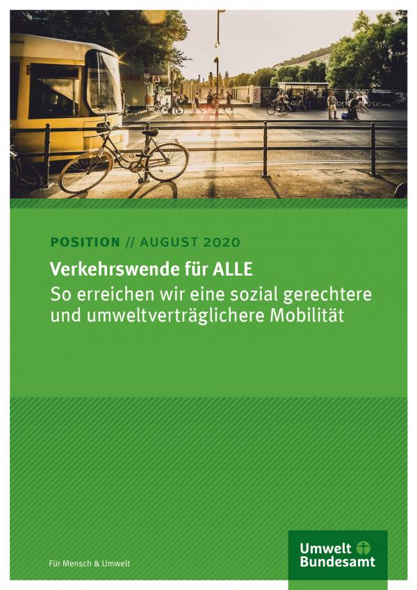 Titelseite des Positionspapier von August 2020. Das Titelfoto zeigt eine Szene in einer Stadt mit Fußgängern, Fahrrädern und öffentlichen Verkehrsmitteln.