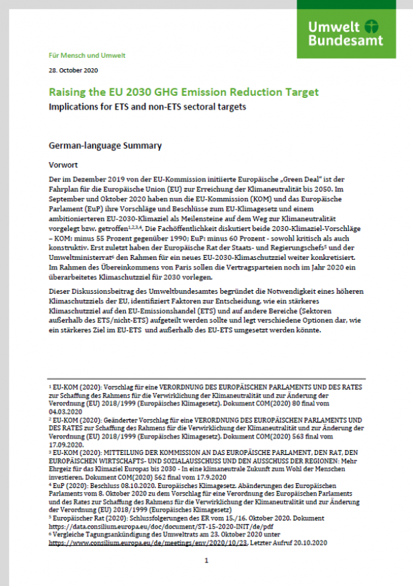 "First page of the paper ""Raising the EU 2030 GHG Emission Reduction Target"" of the German Environment Agency"
