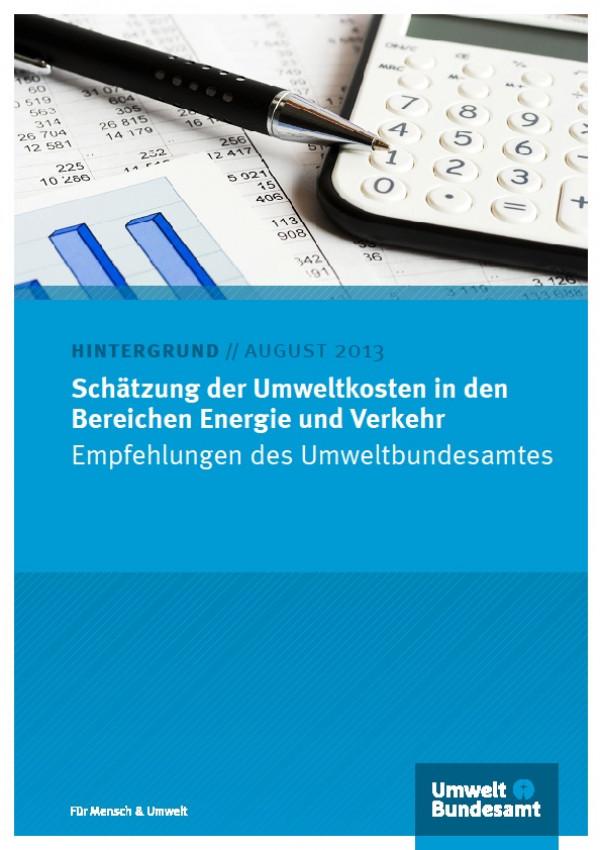 Cover Schätzung der Umweltkosten in den Bereichen Energie und Verkehr