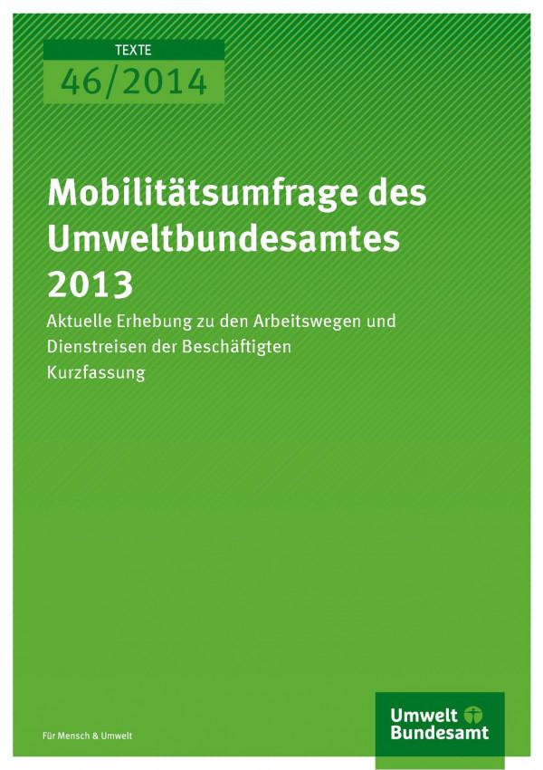 """Cover der Publikation """"Mobilitätsumfrage des Umweltbundesamtes 2013"""" mit grünem Hintergrund und Logo des Umweltbundesamtes"""