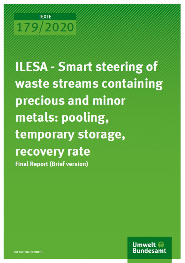 "Cover of the publication TEXZTE 179/2020 of the German Environment Agency ""ILESA - Smart steering of waste streams containing precious and minor metals: pooling, temporary storage, recovery rate"""