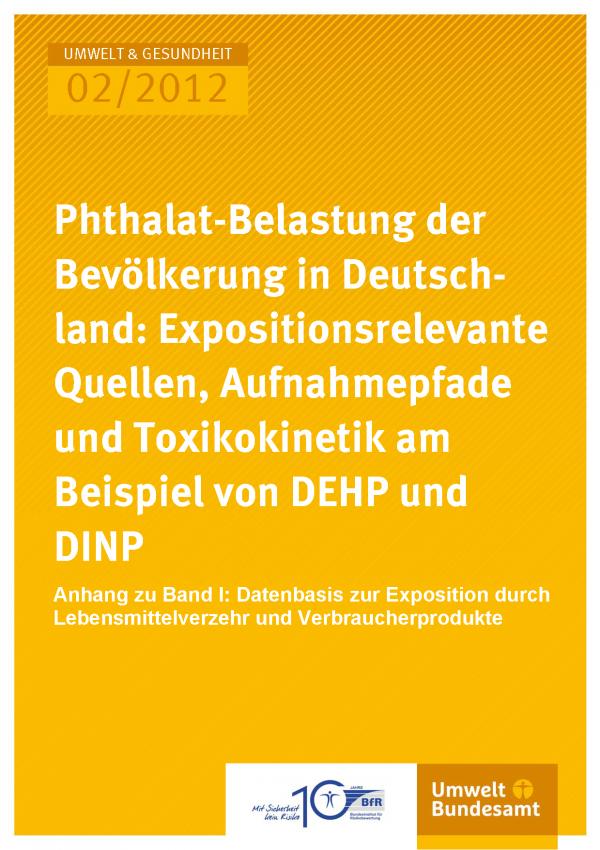 Publikation:Phthalat-Belastung der Bevölkerung in Deutschland: Expositionsrelevante Quellen, Aufnahmepfade und Toxikokinetik am Beispiel von DEHP und DINPAnhang zu Band I: Datenbasis zur Exposition durch Lebensmittelverzehr und Verbraucherprodukte