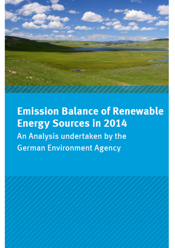 "Cover of the flyer ""Emission Balance of Renewable Energy Sources in 2014 - An Analysis undertaken by the German Federal Environment Agency"" with a photo of a landscape with blue sky and white clouds"