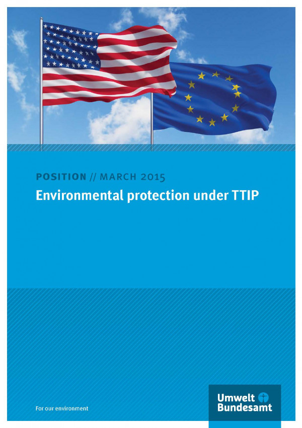 "Cover of the position paper ""Environmental protection under TTIP"" with a photo of a flag of the USA and a flag of the European Union"