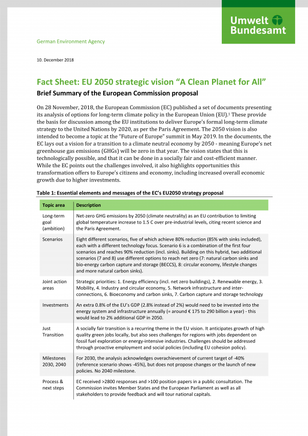 """Cover Fact Sheet: EU 2050 strategic vision """"A Clean Planet for All"""""""