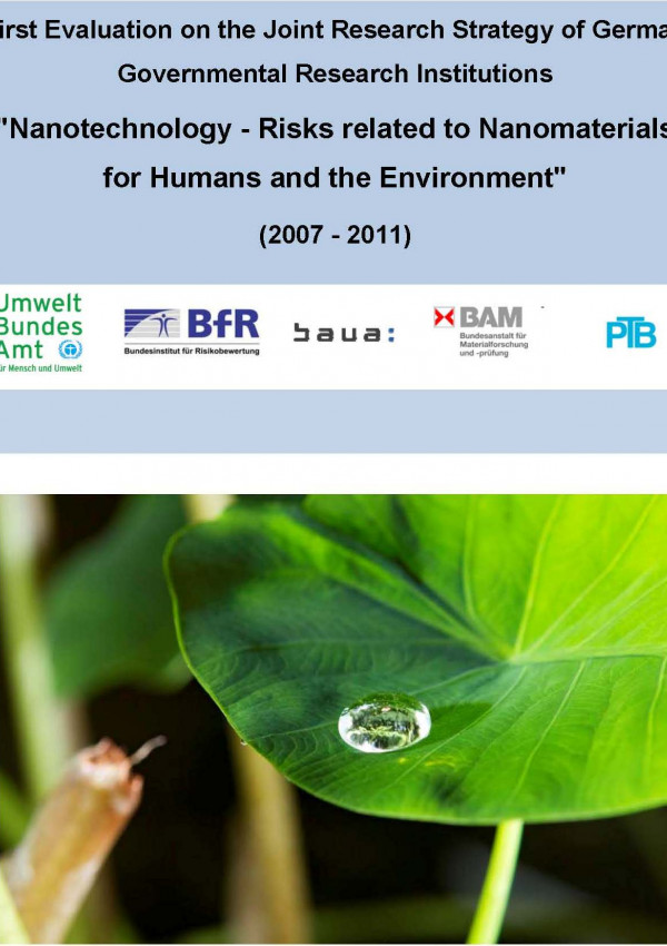"Cover of the publication ""Nanotechnology - Risks related to Nanomaterials for Humans and the Environment"" with a photo of a lotus effect on a leaf of a plant"