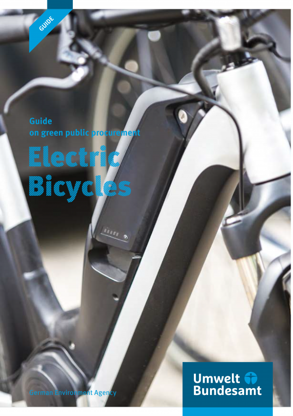 "Cover of the brochure ""Guide on green public procurement: Electric Bicycles"" with a photo of an electric bicycle and the logo of the German Environment Agency"
