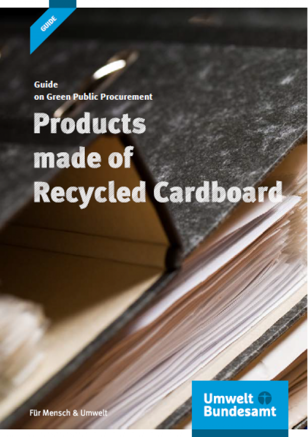 """Cover of the brochure """"Guide on Green Public Procurement: Products made of Recycled Cardboards"""""""