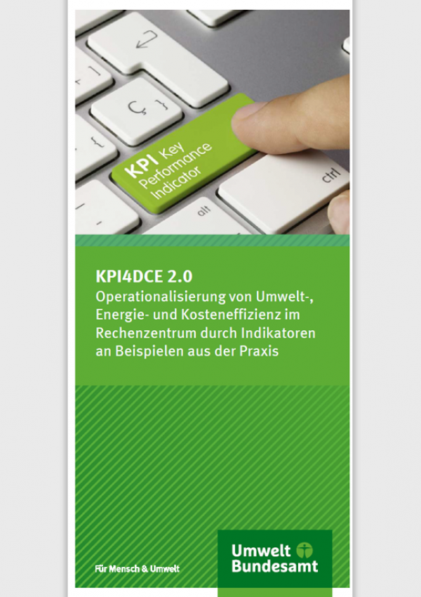 """Faltblatt mit dem Titel """""""", Das Titelfoto zeigt eine Tastatur mit der Taste """"KPI Key Performance Indicator"""", ein Finger betätigt die Taste. Unten das Logo des Umweltbundesamtes und der Spruch """"Für Mensch & Umwelt"""""""