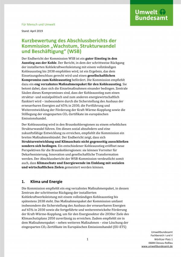 """erste Seite der Kurzbewertung des Abschlussberichts der Kommission """"Wachstum, Strukturwandel und Beschäftigung"""" (WSB) des Umweltbundesamtes mit Logo und Angabe Stand April 2019"""