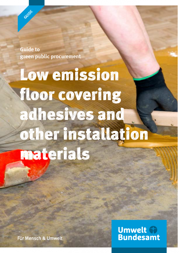 Cover of the brochure Low emission floor covering adhesives and other installation materials