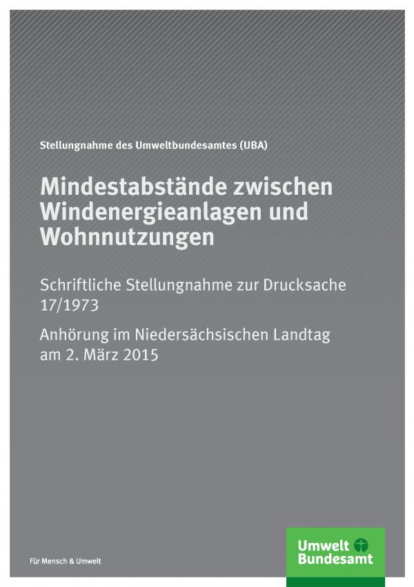"""graues Cover der Publikation """"Mindestabstände zwischen Windenergieanlagen und Wohnnutzungen"""" mit dem Logo des Umweltbundesamtes"""