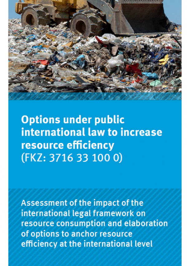 """Cover of the flyer """"Options under public international law to increase resource efficiency (Flyer)"""""""