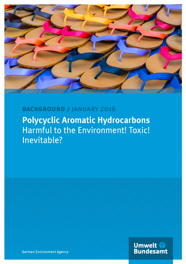 """cover of the background paper """"Polycyclic Aromatic Hydrocarbons - Harmful to the Environment! Toxic! Inevitable?"""" with a photo of plastic flip-flops"""