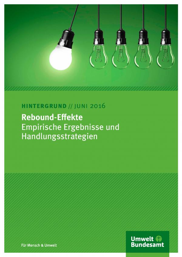 """Cover des Hintergrundpapiers Rebound-Effekte: Empirische Ergebnisse und Handlungsstrategien"""" mit einem Bild einer leuchtenden Energiesparlampe, die an ihrer Fassung gegen eine Reihe ausgeschaltete Glühlampen schwingt"""