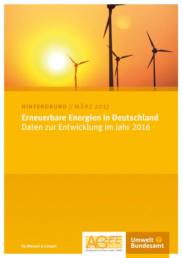 """Titelseite des Hintergrundpapiers """"Erneuerbare Energien in Deutschland - Daten zur Entwicklung im Jahr 2016"""" vom März 2017 mit einem Bild von Windkraftanlagen im Morgen-oder Abendrot"""