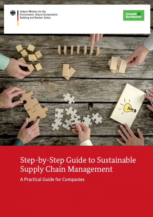 """Cover of the brochure """"Step-by-Step Guide to Sustainable Supply Chain Management"""""""