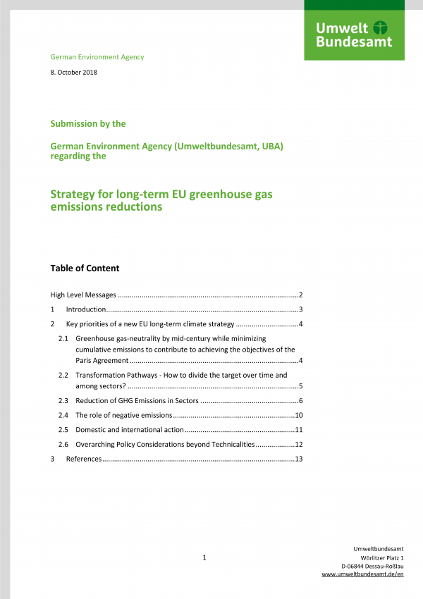 "Titelseite der Publikation ""Strategy for long-term EU greenhouse gas emissions reductions"""