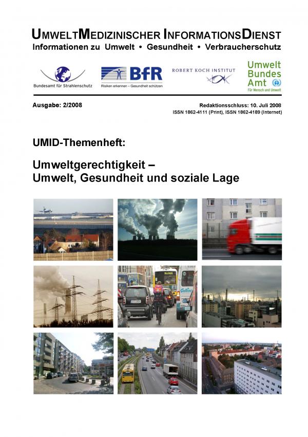 """Cover der Zeitschrift UMID 02/2008 """"Umweltgerechtigkeit"""" mit Fotos aus Städten mit viel Luftverschmutzung, Verkehr und Lärm"""