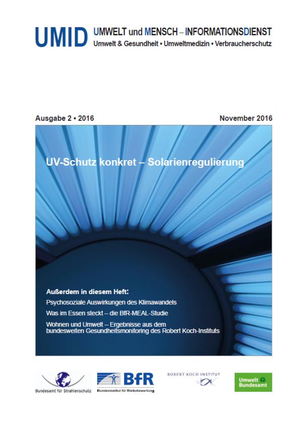 """Cover der Zeitschrift UMID 02/2016 mit dem Titel """"UV-Schutz konkret – Solarienregulierung"""" und einem Foto einer Innenansicht eines Solariums"""