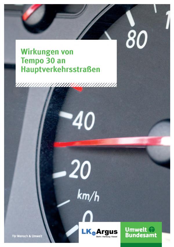 Titelseite der Broschüre Wirkungen von Tempo 30 an Hauptverkehrsstraßen, das Hintergrundbild zeigt einen Tachometer, der 30 anzeigt