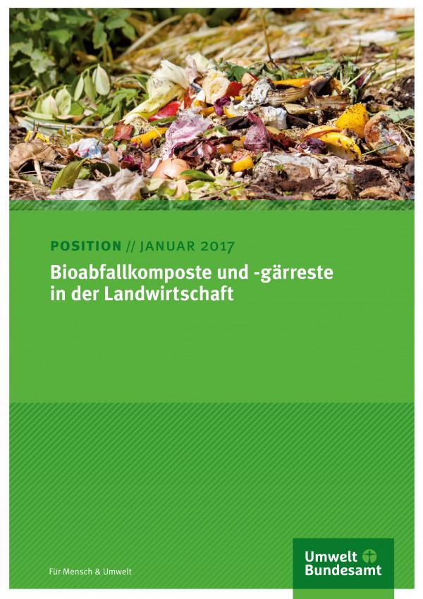 """Cover der Publikation """"Entwicklung von Instrumenten zur Vermeidung von Lebensmittelabfällen""""Bioabfallkomposte und -gärreste in der Landwirtschaft"""" - weiße Schrift auf grünem Grund"""