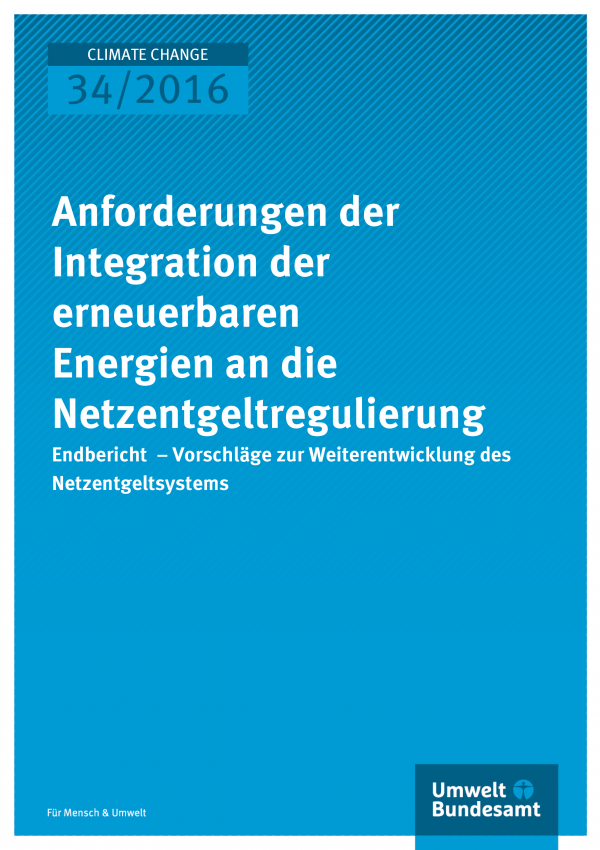 """Cover der Publikation """"Anforderungen der Integration der erneuerbaren Energien an die Netzentgeltregulierung"""" (weiße Schrift auf blauem Grund)"""
