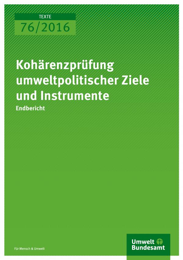 """Cover der Publikation """"Kohärenzprüfung umweltpolitischer Ziele und Instrumente"""" (weiße Schrift auf grünem Grund)"""