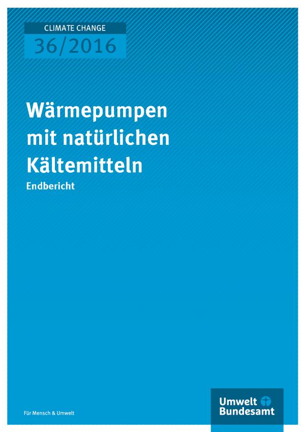 """Cover der Publikation """"Wärmepumpen mit natürlichen Kältemitteln"""" (weiße Schrift auf blauem Grund)"""