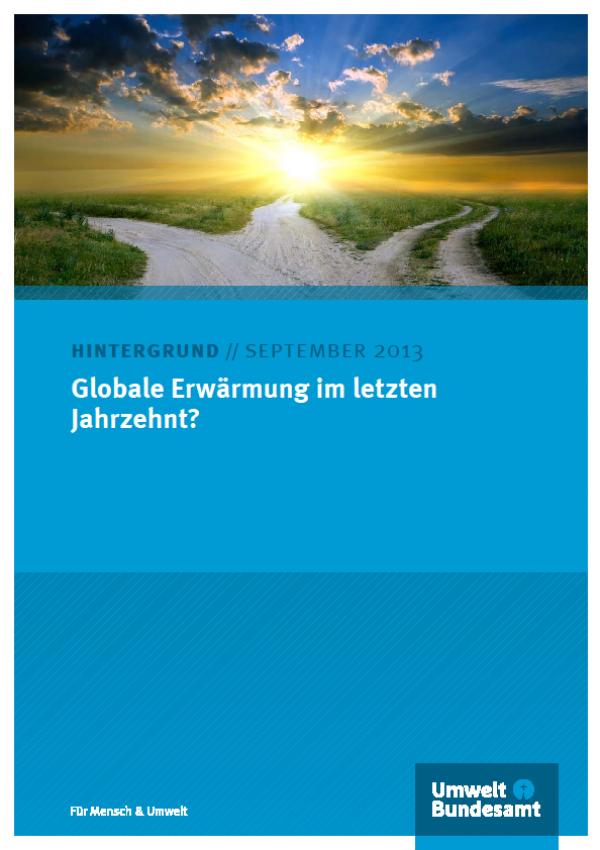 """Titelbild des Hintergrundpapiers """"Globale Erwärmung im letzten Jahrzent?"""" mit blauem Hintergrund und einem Sonnenaufgang über drei sich kreuzenden Wegen"""