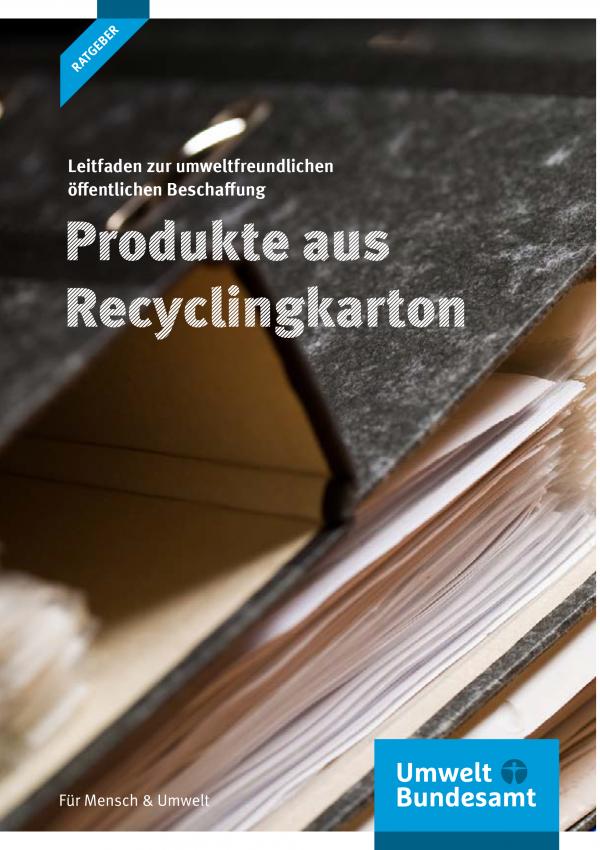 """Cover der Publikation """"Leitfaden zur umweltfreundlichen öffentlichen Beschaffung: Produkte aus Recyclingkarton"""" - Aktenordner"""