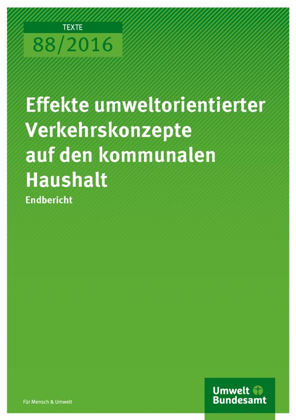 """Cover der Publikation """"Effekte umweltorientierter Verkehrskonzepte auf den kommunalen Haushalt"""" (weiße Schrift auf grünem Grund)"""
