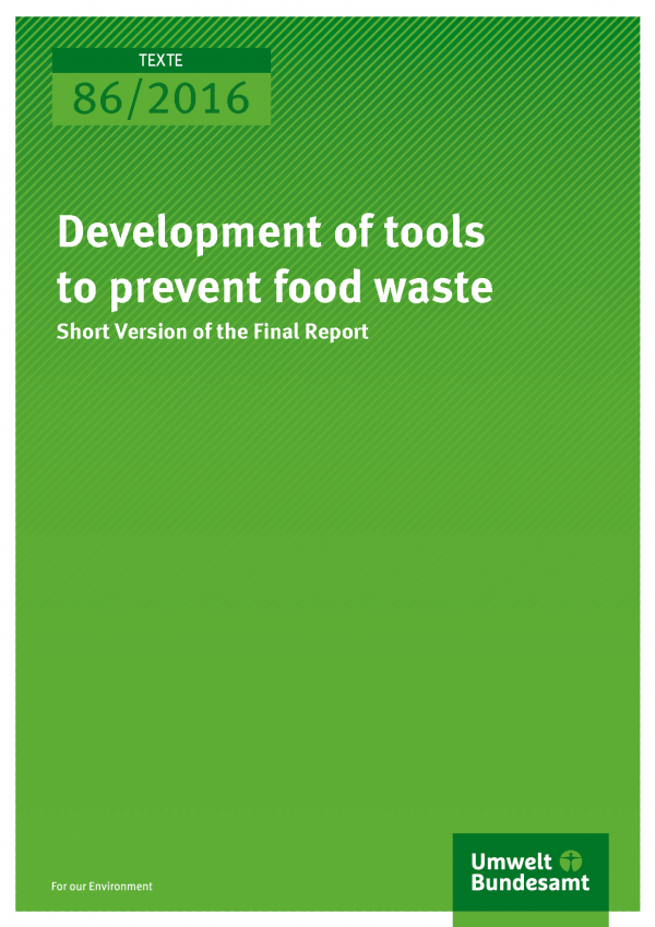"Cover ""Development of tools to prevent food waste"" (white text of green background)"