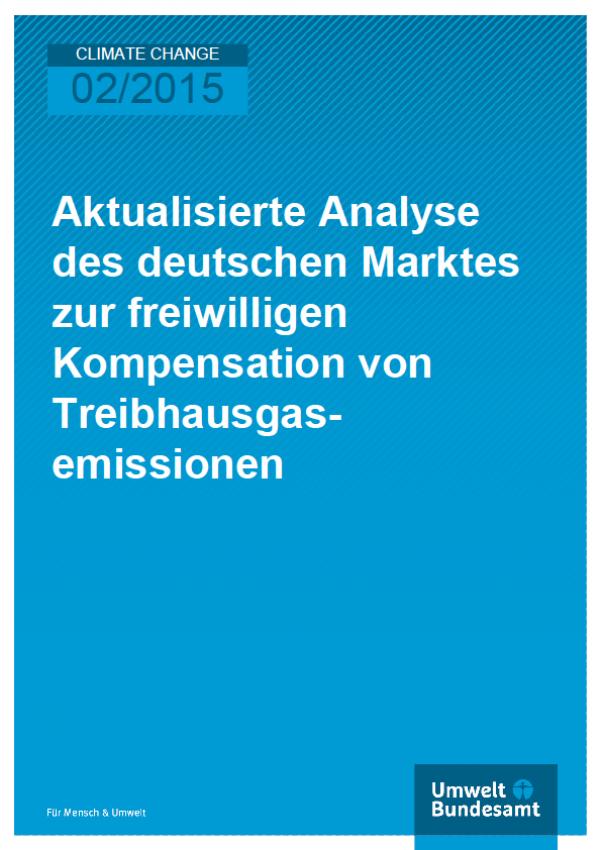 Cover Climate Change 02/2015 Aktualisierte Analyse des deutschen Marktes zur freiwilligen Kompensation von Treibhausgasemissionen