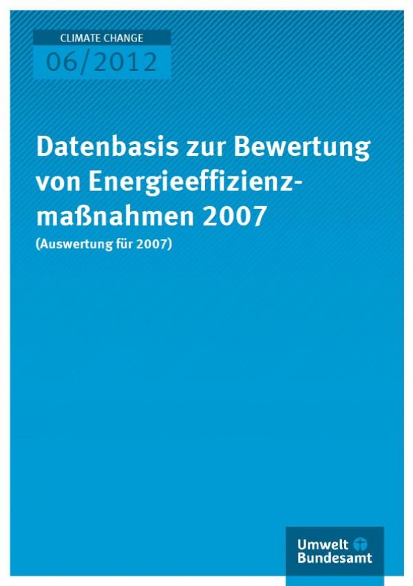 Publikation:Datenbasis zur Bewertung von Energieeffizienzmaßnahmen 2008 (Auswertung für 2007)