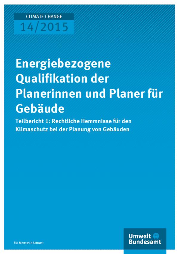 Prof. Dr. Stefan Klinski Energiebezogene Qualifikation der Planerinnen und Planer für Gebäude