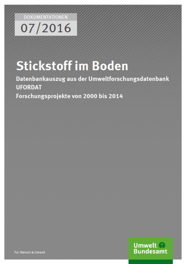 Cover Dokumentationen 07/2016 Stickstoff im Boden