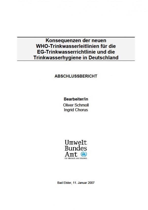 Cover Konsequenzen der neuen WHO-Trinkwasserleitlinien