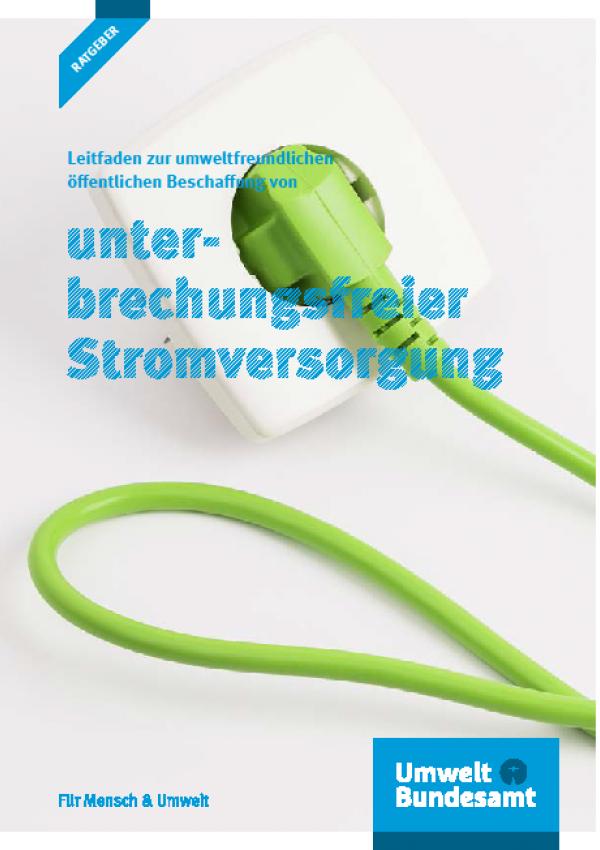 Cover Leitfaden zur umweltfreundlichen öffentlichen Beschaffung von unterbrechungsfreier Stromvers.