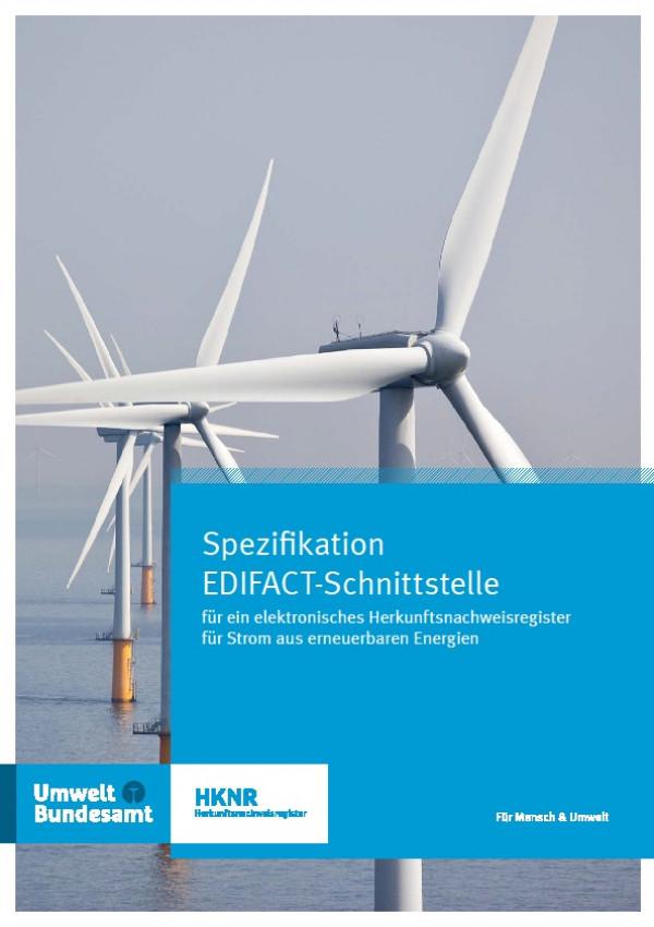 Cover Spezifikation EDIFACT-Schnittstelle für ein elektronisches Herkunftsnachweisregister für Strom aus erneuerbaren Energien
