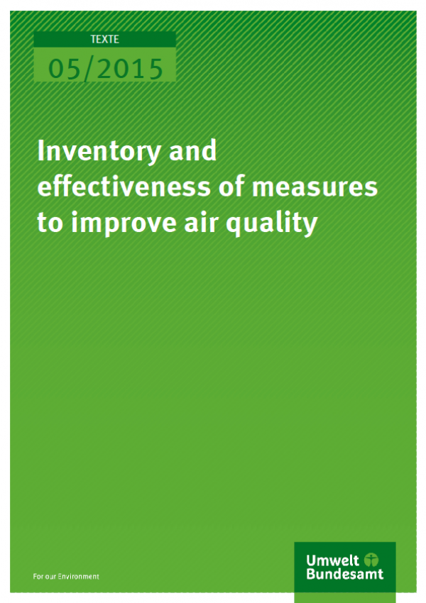 Cover Texte 05/2015 Inventory and effectiveness of measures to improve air quality