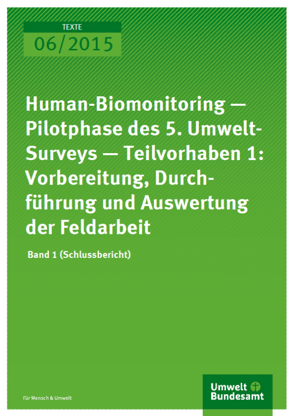 Cover Texte 06/2015 Human-Biomonitoring — Pilotphase des 5.Umwelt-Surveys — Teilvorhaben 1:Vorbereitung, Durchführung und Auswertung der Feldarbeit